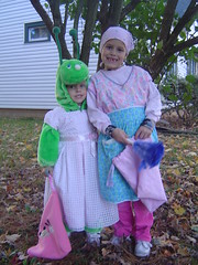 A catepillar dressed up as a princess and Cinderella before the fairy Godmother came