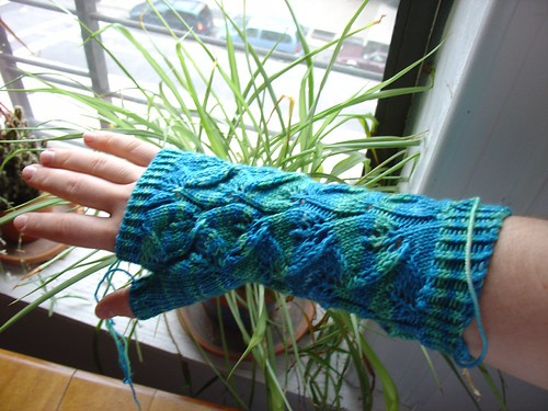 Embossed Leaves wrist warmers