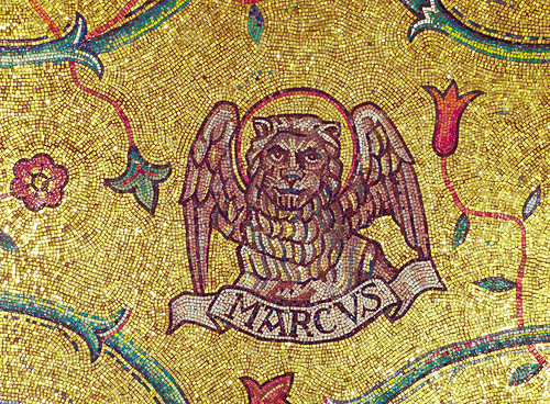 Cathedral Basilica of Saint Louis, in Saint Louis, Missouri, USA - mosaic of the winged lion of Saint Mark the Evangelist.jpg