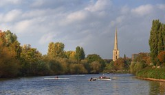 Rowing Practice (flash of light) Tags: england st river geotagged boat andrews searchthebest severn spire rowing worcestershire worcester geo:lat=52182701 geo:lon=2223154