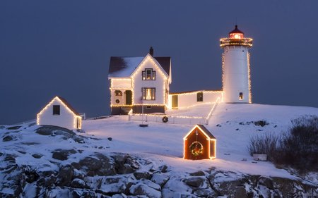 Christmas Lighthouse - Christmas Wallpaper