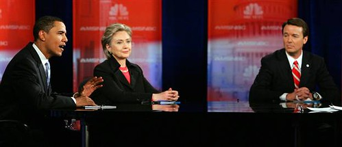 Obama, Clinton and Edwards at the Nevada Democrat Debate