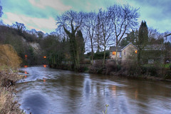 Calm river (Queen Tiye) Tags: uk greatbritain trees winter water river yorkshire harrogate knaresborough canoneos hdr calmriver prinzesabg