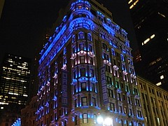 blue dream (volvidejapon) Tags: city nyc travel blue autumn usa newyork color building fall halloween lights manhattan flag banner dream flavio ©allrightsreserved instantfav volvidejapon ©todoslosderechosreservados ®volvidejapon ©volvidejapon