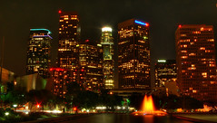 Downtown Los Angeles (Menetnasht) Tags: california leica city fountain skyline architecture night speed buildings lumix la hall us losangeles los concert long exposure downtown slow angeles bank landmark disney panasonic southern shutter walt kpmg ferrero hdr deloitte contests fz50 city1 photomatix photofaceoffwinner top20la