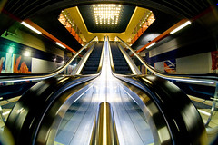 eight mm are great! (frischmilch) Tags: building lines station architecture train subway deutschland lights escalator cologne frombelow fisheye nrw kvb peleng