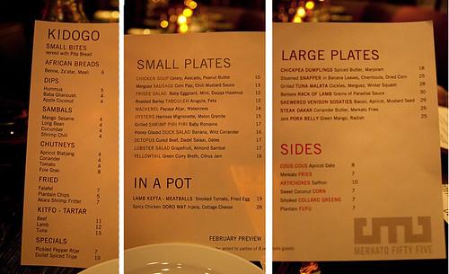 Merkato 55's menu