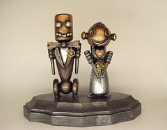Robot Bride and Groom Wedding Cake Topper Wood Statues with Base (Builders Studio) Tags: wood wedding fiction people sculpture man cute art classic statue cake metal trek toy person star bride robot couple punk comic technology veil geek mechanical tech top metallic space painted decoration machine wed artificial science retro steam nasa replica tuxedo formalwear ia figure divorce scifi pulp wars bouquet gown bridal figurine centerpiece gears tux marraige marry base broom android prop mecha droid topper geekery bot mech robo automaton steampunk robotic cyclon