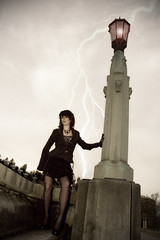 Ride The Lightning (Adam Barr) Tags: light sky woman adam lamp girl beautiful beauty female oregon photoshop portland model nikon jamie d70 cs2 or gorgeous femme goth d70s victorian style professional adobe electricity lightning barr stylish cs3 adambarr
