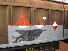 freight train (.aris) Tags: street railroad bird art birds train graffiti rail railway pb aerosol ok pbs freight aix aris knm