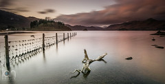 Derwentwater Driftwood (ianbrodie1) Tags: sunrise derwentwater keswick driftwood water shoreline lakes lakedistrict lake fence trees mountains peaks long exposure friars crag rock clouds leefilters filter snow