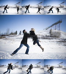 """falling"" in love? (Rhys Albrecht) Tags: blue winter boy sky snow ski girl engagement jump jumping jessica dean over down falling alberta sequence engaged leaping filmstrip camrose esession"