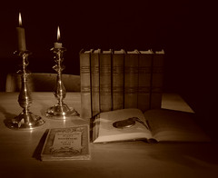 Books, candles, map, watch - D80 in-camera Sepia conversion