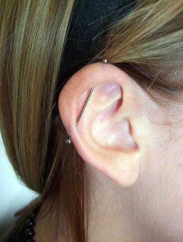 industrial ear piercing. 18g industrial piercing
