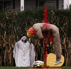 Degree of Difficulty - Excellent.  Landing - Not So Good. (Sister72) Tags: halloween strange pumpkin blood jump head ghost dive nj screen creepy spooky gross spike monmouthcounty freehold happyhalloween october31