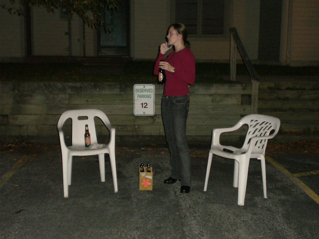 Meg, beers, chairs