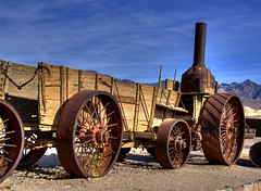 Borax Mining Equipment, Death Valley (Thad Roan - Bridgepix) Tags: california ranch wood tractor metal rusty historic steam mining equipment rusted wikipedia deathvalley ore hdr rist olddinah borax furnacecreek photomatix twentymuleteam 200711
