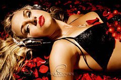 She's a DJ (_Paula AnDDrade) Tags: red roses portrait music woman beautiful face hair photography petals glamour eyes dj retrato mulher lips petal blonde fotografia glamourous blueribbonwinner paulaanddrade fiveflickrfavs paulaisthebest djbibbapacheco