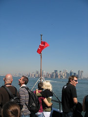 Boat Back to To The City (lee_yoshida) Tags: city newyorkcity trip travel red vacation usa newyork canon statueofliberty lib