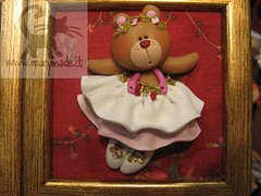 ballerina teddy bear - framed collectible (marytempesta) Tags: ballerina polymerclay teddybear frame collectible handmadecrafs