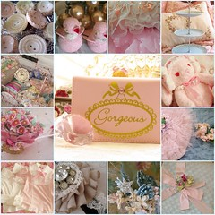 Gorgeous (Sugar*Sugar) Tags: pink flowers blue roses brown bird cake collage vintage easter ruffles dessert beads pretty candy dish sweet lace crafts egg cottage jewelry retro thrift button ribbon chic satin decor embellishments goodies binding millinery shabby notions