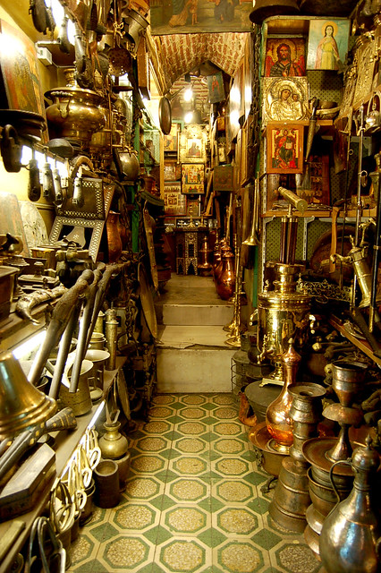 A shop teeming with brass and copper, at the Grand Bazaar