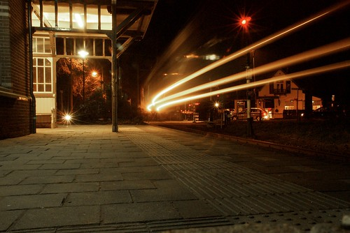 Train entering station in long exposure