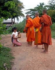 Banh Hom Alms (jssutt) Tags: morning farm buddhist farming buddhism monks laos lao vientiane alms buddhistmonks 5photosaday farmvillage earthasia jssutt jeffsuttlemyre