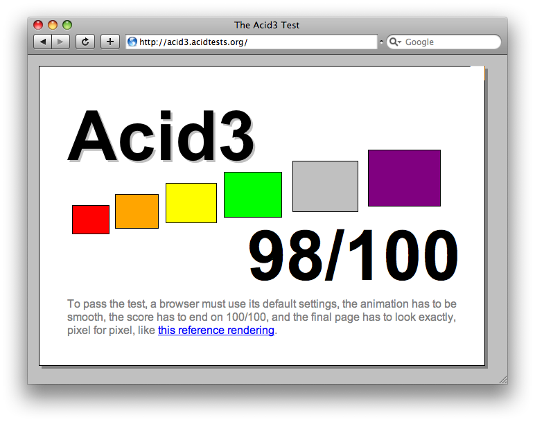 WebKit hits 98/100 on Acid3
