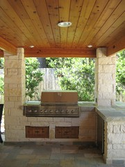 Outdoor limestone kitchen (Wood Crafters) Tags: kitchen stone tile stainlesssteel outdoor grill cedar limestone slate ledgestone stonecolumns entertainmentarea outdoorsummerkitchen