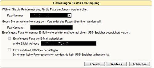 Art des Fax-Empfanges wählen