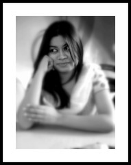 Lost in Thoughts (Tahmid Munaz) Tags: portrait bw white black face lady female model women mood emotion think thoughts bangladesh picnik candit