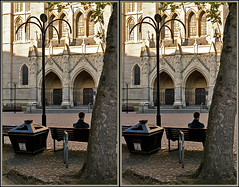 Balliolman_Sitting_X (Balliolman) Tags: man tree beautiful wow bench 3d cornwall cathedral superb awesome arches bin pole stereo excellent cobbles truro brilliant crossed