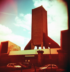 Kingsway Tunnel Ventilation (Arnaud Tudoret) Tags: england sky tower 120 6x6 film clouds liverpool mediumformat holga xpro lomography cross lightleaks squareformat processing xprocessed vignetting xprocessing leaks merseyside capitalofculture e6c41 ldp12 arnaudtudoret kingswaytunnelventilation donkeysoho