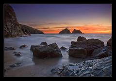 Rocks, more rocks... (Roger.C) Tags: longexposure sunset sea sky seascape beauty canon rocks cornwall searchthebest sigma 30d 1770mm goldstaraward