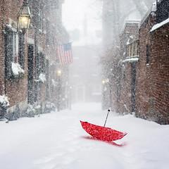 Red Umbrella at Acorn Street ((Jessica)) Tags: redumbrella freezing umbrella boston cold sonya6000 red winter massachusetts acornstreet street acornst winterstormniko blizzard snow windy newengland sonyalpha wind snowstorm