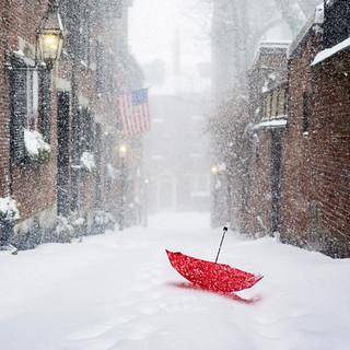 Red Umbrella at Acorn Street