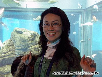 Rachel is happy at the aquarium