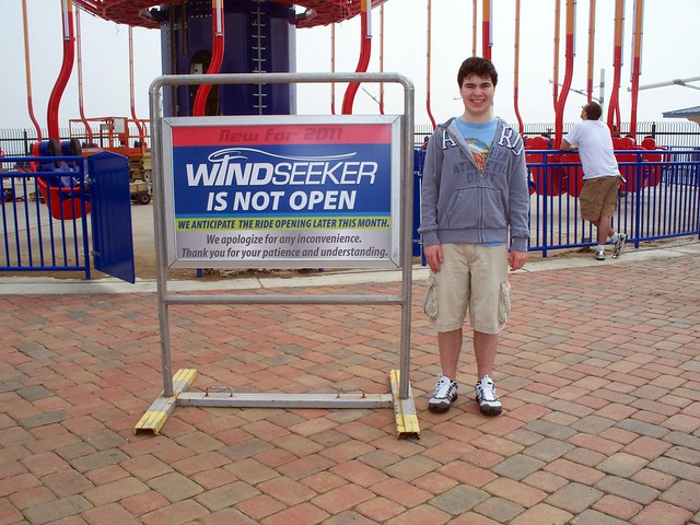 Cedar Point - Me with WindSeeker Sign
