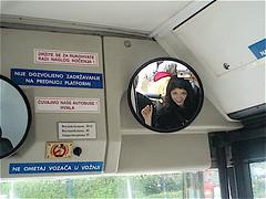 Self-portrait in bus mirror, Babin Kuk, Croatia (wanderingczar) Tags: selfportrait bus mirror autoportrait croatia easterneurope babinkuk