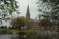 our church from the best viewpoint, between the willows (trekamerikalover) Tags: hometown dutchhouses autumnfolliage