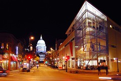Upper State Street (Madison Guy) Tags: wisconsin night ambientlight capitol madison statestreet wi blueribbonwinner mmoca wisconsinstatecapitol madisonmuseumofcontemporaryart madison365 portalwisconsinorg portalwisconsinorgselected