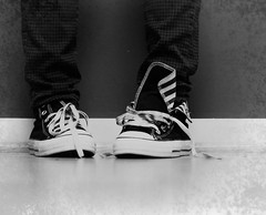 Day 4 (Allegra Villella) Tags: blackandwhite texture shoes stripes snapshot converse day4 chucks avphotography