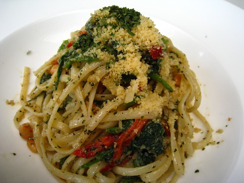 Linguine Aglio Olio with Sun Dried Tomatos, Spinach & Pine Nuts.JPG