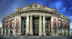 Canadian Pacific (bryanscott) Tags: city blue winter sky panorama snow building station architecture train winnipeg pacific canadian manitoba higgins hdr photomatix