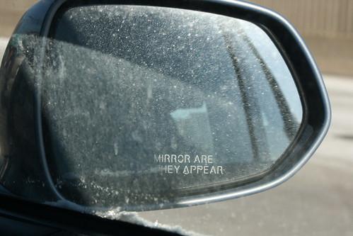 Salt-crusted mirror