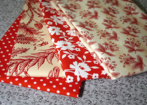 Red fabrics from Sew, Mama, Sew!