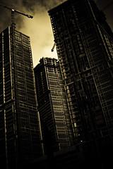MIA Construction-9930 (eyecbeauty) Tags: sky bw sepia buildings dark construction downtown miami steel towercrane mywinners
