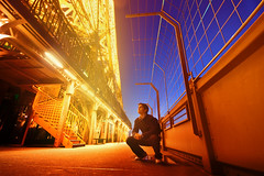 (Victoriano) Tags: longexposure sunset orange selfportrait paris france tower yellow metal french lights steel magic eiffeltower wideangle eiffel bulbs society victoriano magichour hierro themoulinrouge ferrum society1 victorianoizquierdo flogr
