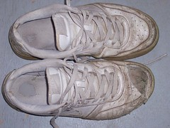 well loved (indifferent child of the earth) Tags: white shoes dirty sneakers worn dirtyshoes whiteshoes shoelaces whitesneakers wornsneakers holysneakers